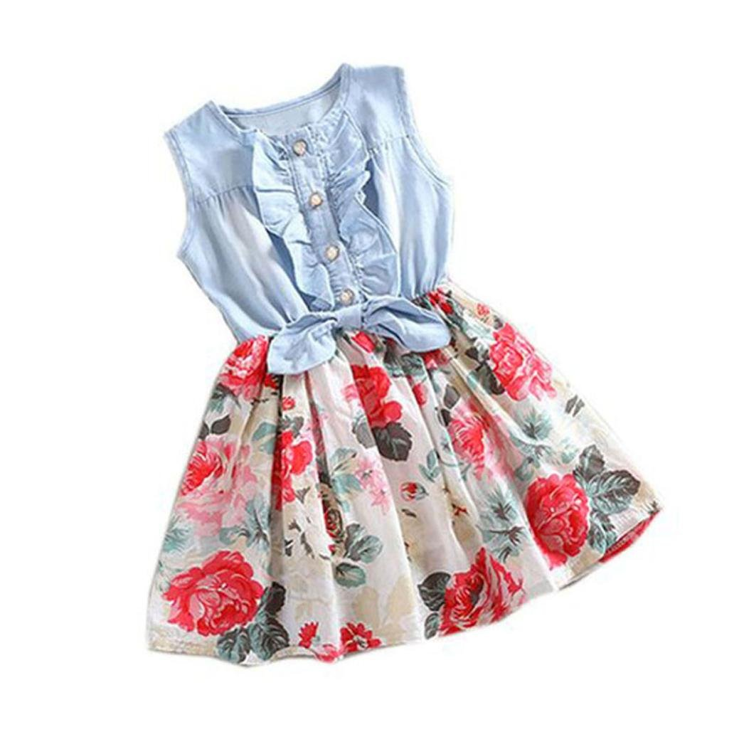 Kingko Baby Kids Dresses Girls Summer Denim Dress Flower Printing Bowknot Decor Sleeveless Princess Party Dresses