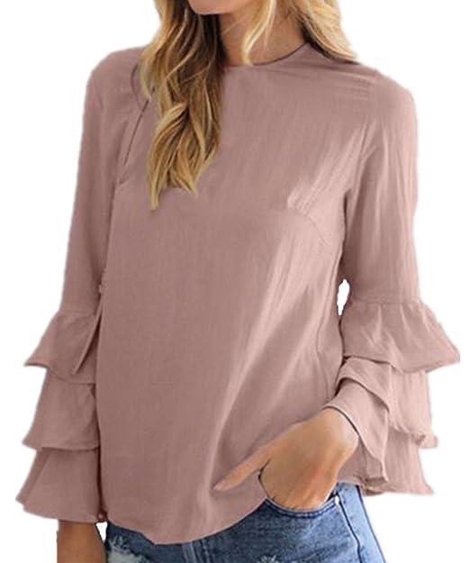 AILIENT Mujeres Camisetas De Manga De Cuello Redondo Sexi Slim T Shirt Blusas Camisas Sweatshirt Tops
