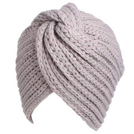 Ssowun Cappello turbante Lana calda inverno donna Berretto indiano  Cappuccio incrociato 8d57eac573d1