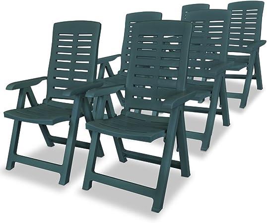 honglianghongshang Muebles de jardín Asientos de Exterior Sillas de jardínSillas de jardín reclinables 6 Unidades plástico Verde: Amazon.es: Hogar