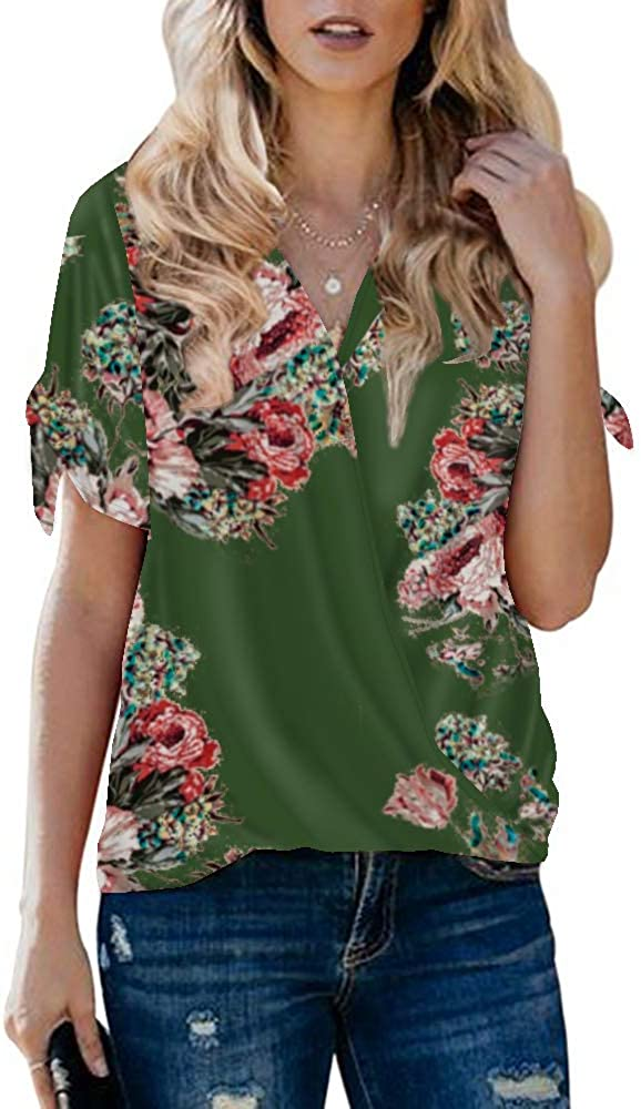 Xineppu Womens Floral Wrap V Neck Blouses Tie Sleeves Flowy Summer Loose Shirts