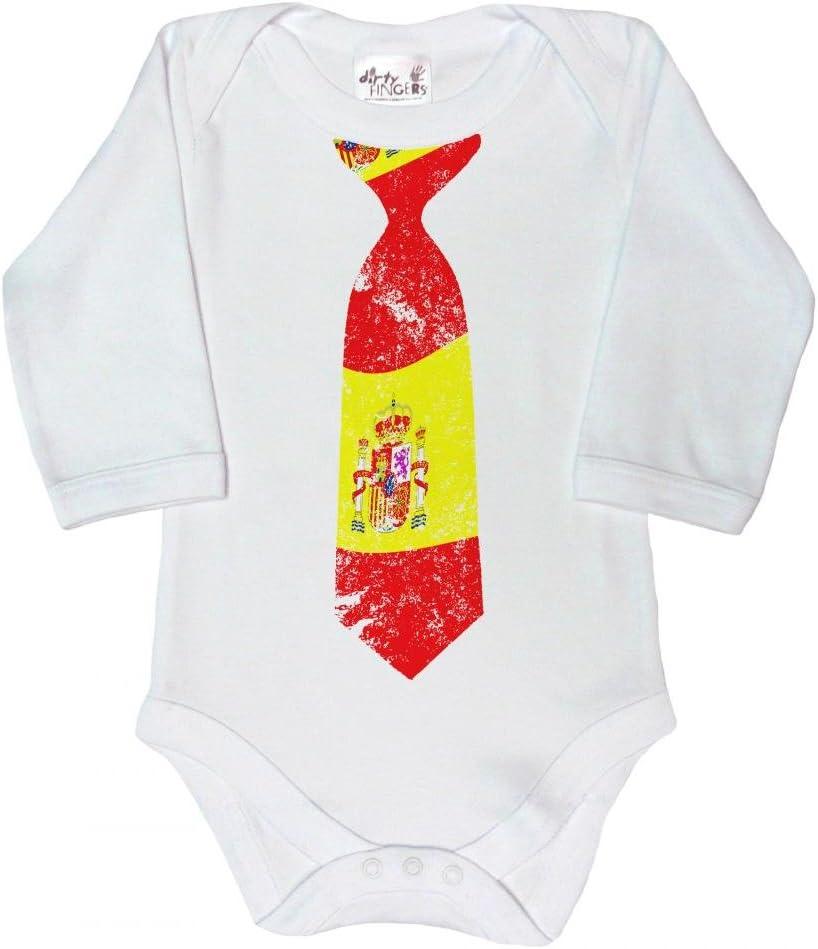 Dirty Fingers, Corbata con diseño de bandera Española, Bebés Body con manga larga, color blanco, 12-18 meses: Amazon.es: Bebé