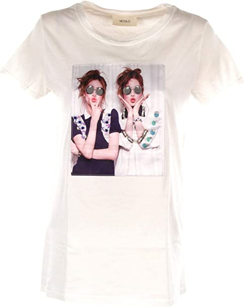 VICOLO T-Shirt Donna Bianco Ru0387 Primavera Estate 2019