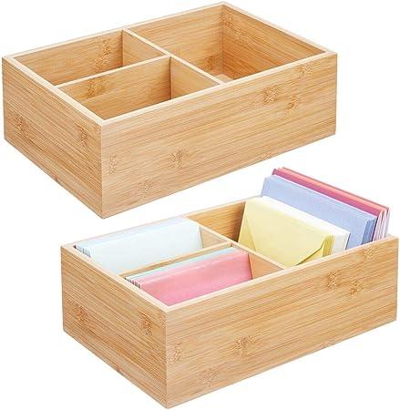 mDesign Juego de 2 cajas organizadoras para oficina – Práctica caja de almacenaje con 3 compartimentos para bolígrafos, sobres, pósits y demás – Moderno organizador de escritorio – color natural: Amazon.es: Hogar