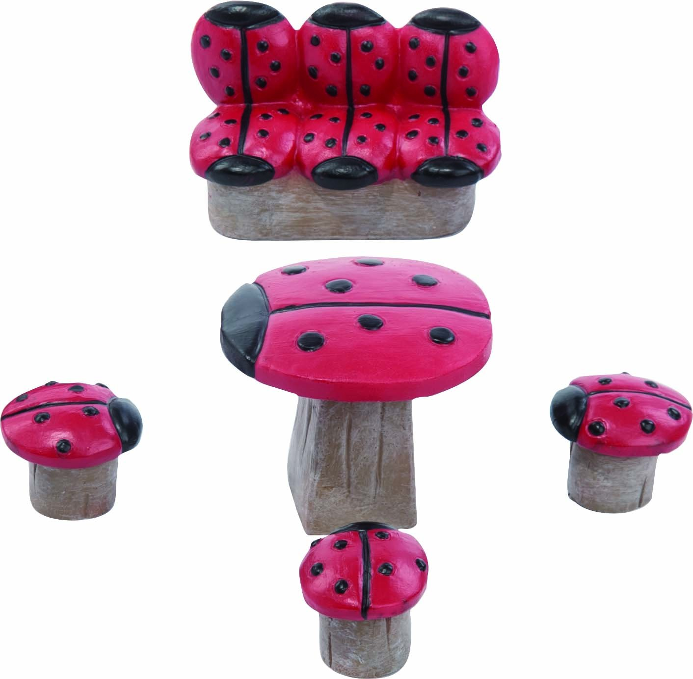Transpac Imports, Inc. Miniature Lady Bug Spotted Garden Fairy Furniture 3 inch Resin Decoration Set of 5