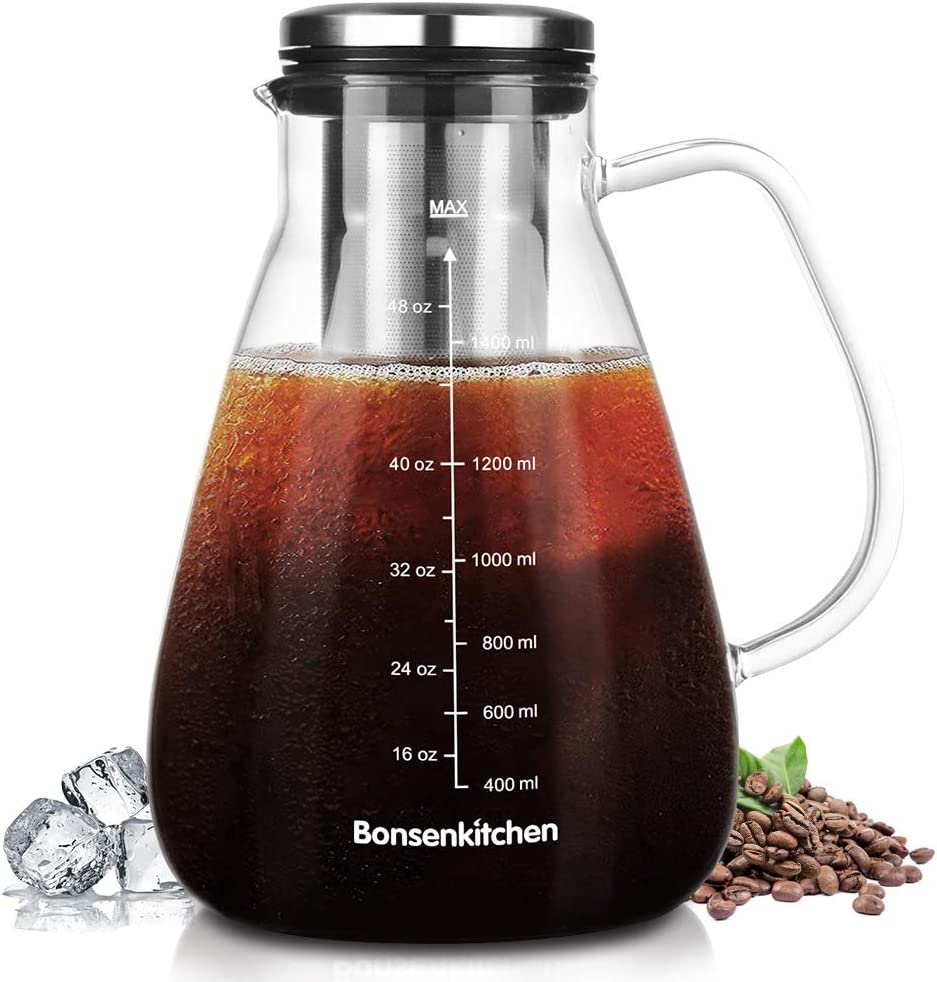 Iced Coffee Maker Cold Brew 1.5L/53OZ, Iced Coffee and Tea Brewer with Removable Stainless Steel Filter, Dishwasher Safe, Rustproof, BPA-Free, CP8004