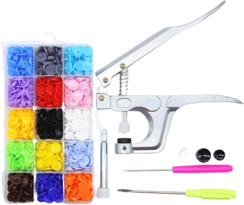 De múltiples fines 150set 15 colores ropa de bricolaje T5 Sujetadores de plástico Snap Resin Press Press Tool Herramienta Mano Presión de la mano Kit con caja para vaqueros, vaqueros, chaquetas,