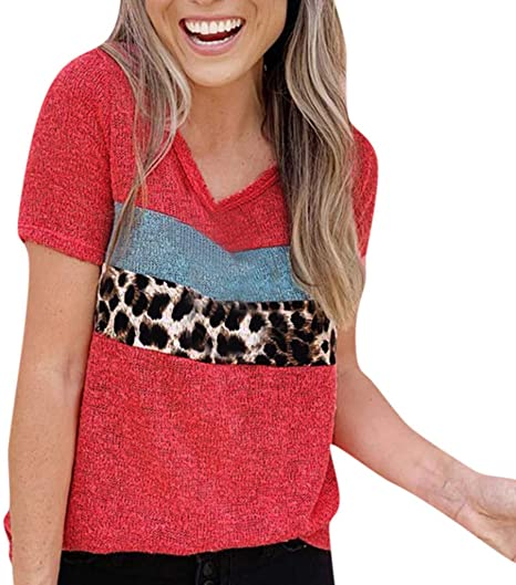 Amazon Com Goddesslili Womens Tops 2020 New Fashion Design Patchwork Leopard T Shirt Blouses For Women Girls Ladies Casual Office Wear Back To School Supplies Cozy And Comfortable Rd S Arts Crafts Sewing