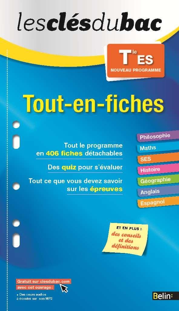 Read Online tout-en-fiches ; terminale ES pdf