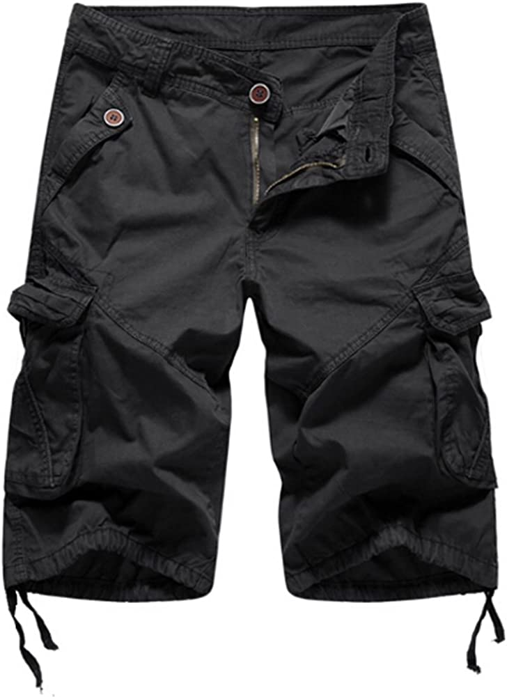 Mens Cargo Shorts Casual Loose Fit Cotton Short Pants with Multi-Pocket