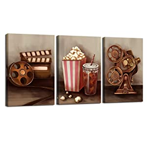 sechars - 3 Piece Canvas Wall Art Classic Old Fashion Film Reels Popcorn Poster Painting Vintage Bar Pub Home Movie Theater Media Room Wall Decor Gallery Canvas Wrapped Artwork (16x24inchesx3pcs)