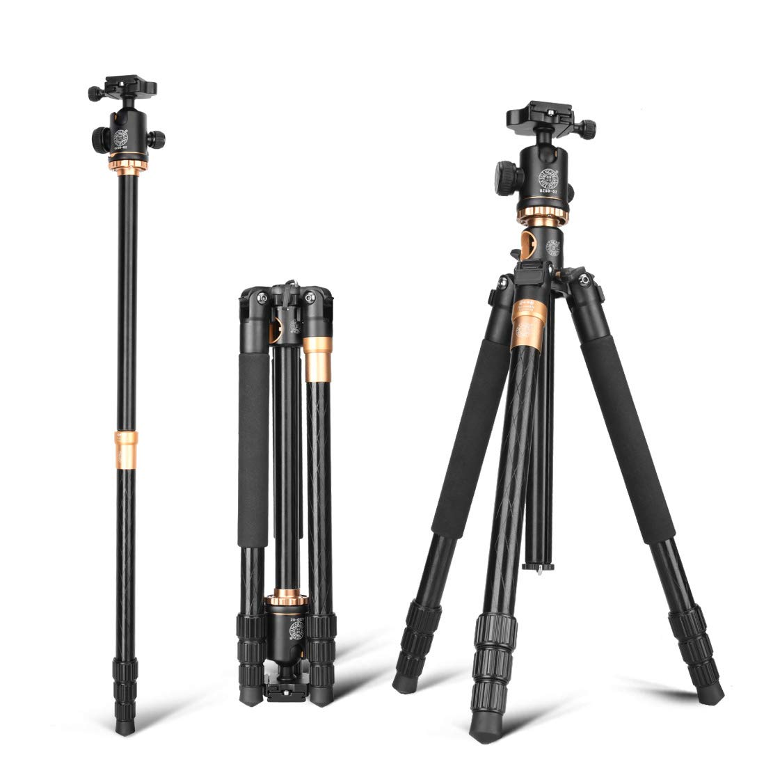 DSLR三脚360度パノラマボールヘッド付き軽量コンパクトアルミニウム製カメラ三脚クイックリリースプレートロード5KGトラベル&ワーク(ブラック)   B07QZ3YW43