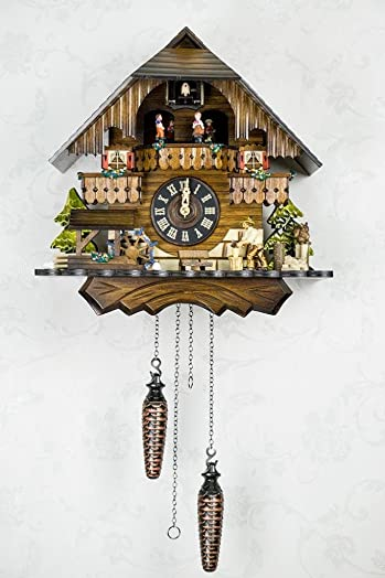 Quartz Cuckoo Clock Black forest house with music, moving wood-cutter, turning dancers and mill-wheel, incl. batteries