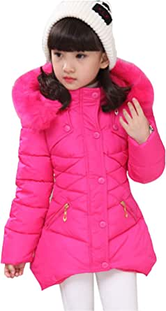 Childlike Me Girl's Winter Warm Coat Puffer Jacket Windproof Outwear with Hood for 2-12 Years Old
