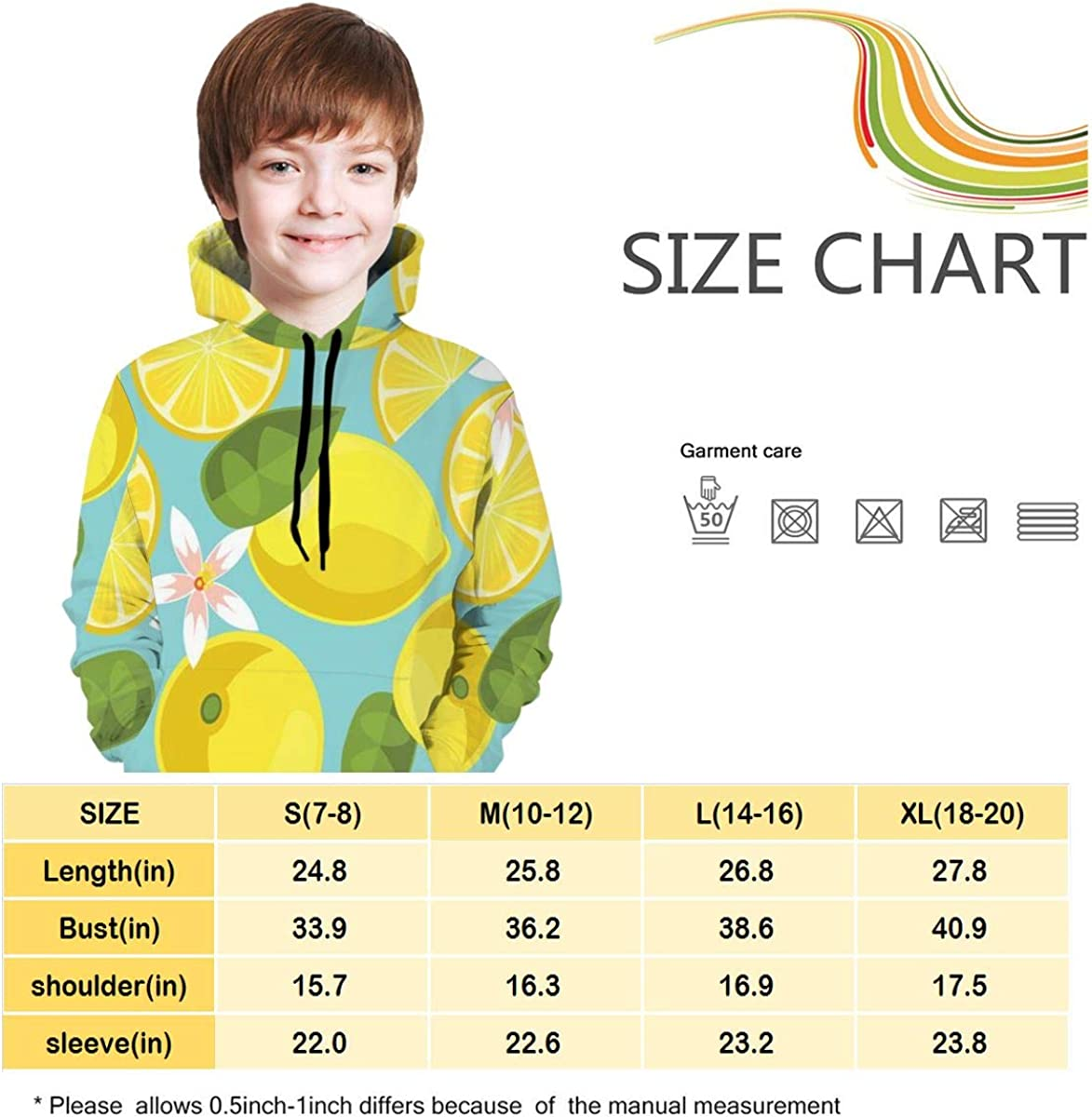 Yellow Lemon Students Hooded Sweate Pullover Drawstring Pocket Windproof Sports Shirt for Teens