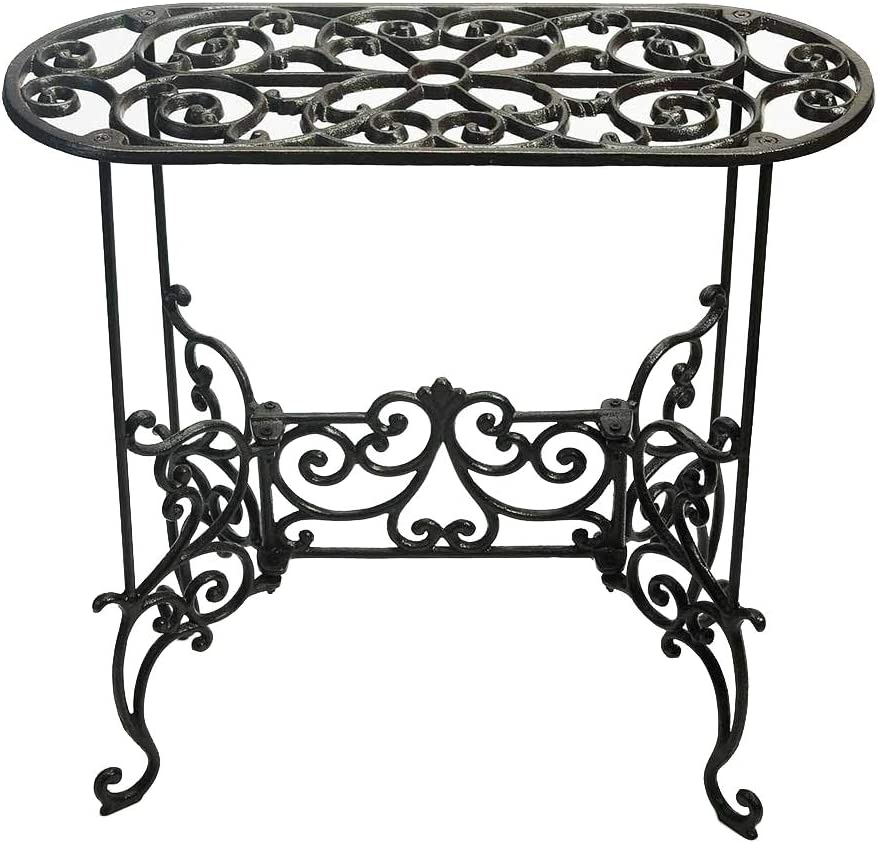 Sungmor Heavy Duty Cast Iron Potted Plant Stand Garden Table - 22.6IN. 1 Tier Metal Stands - Decorative & Vintage Style Indoor Outdoor Corner Shelf for Planters Vases Lanterns Ornaments Books and More