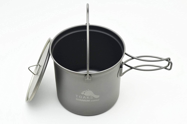 Amazon.com: toaks 1100 ml, bote de titanio con asa: Sports ...