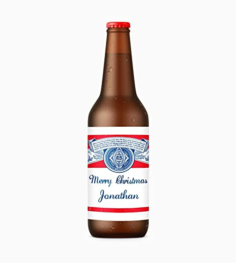 Jonathan x4 merry christmas personalised name beer bottle budweiser label stickers self adhesive glossy merry christmas