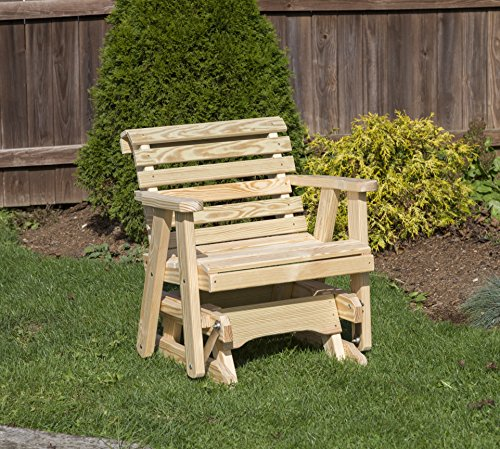 Amish Heavy Duty 600 Lb Roll Back Pressure Treated Porch Patio Garden Lawn Outdoor GLIDER CHAIR-2 Feet-NATURAL-Made in ()