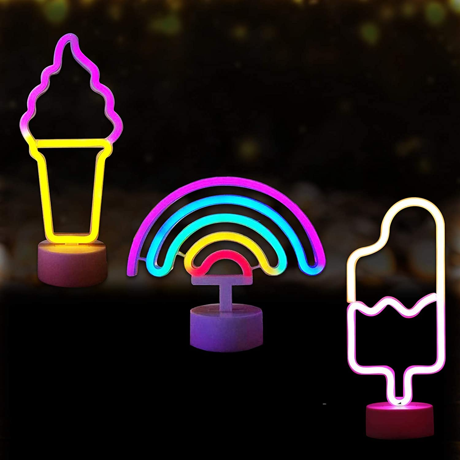 3 Pcs Rainbow Neon Sign Light with Ice Cream and Popsicle Led Neon Light, Wall Decor Colorful Neon Light with Holder, Wall Decoration for Bedroom for Girls Boys, Neon Party Supplies