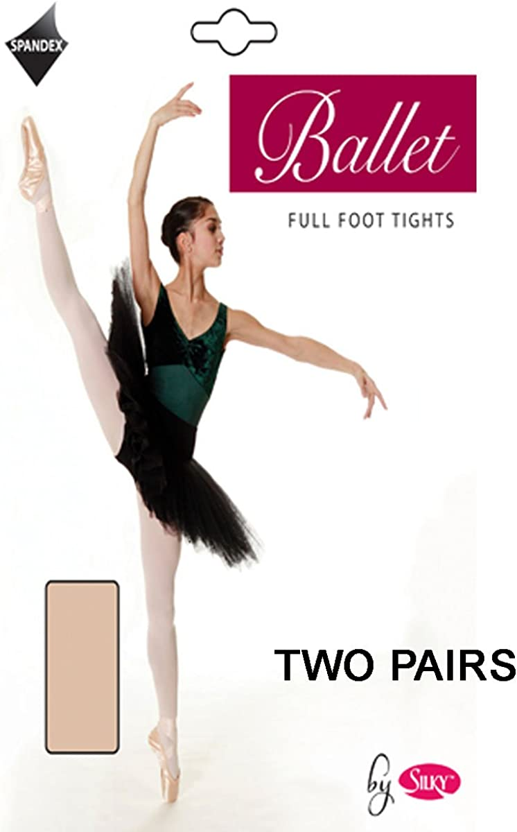 2 Pairs Silky Childrens Girls Full Foot Dance Ballet Tights White Pink 2 Pairs Pink Age 5-7