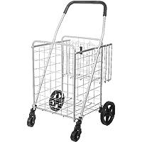 WOAINI 90L Large Capacity Shopping Trolley, 4 Wheel Folding Portable Push Cart 2 Baskets