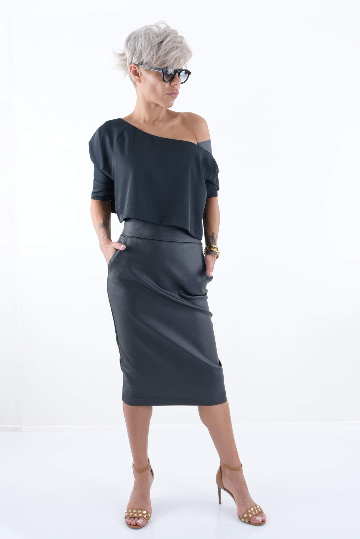 LOCKERROOM Pencil High Waist Black Midi Women Office Skirt with Pockets