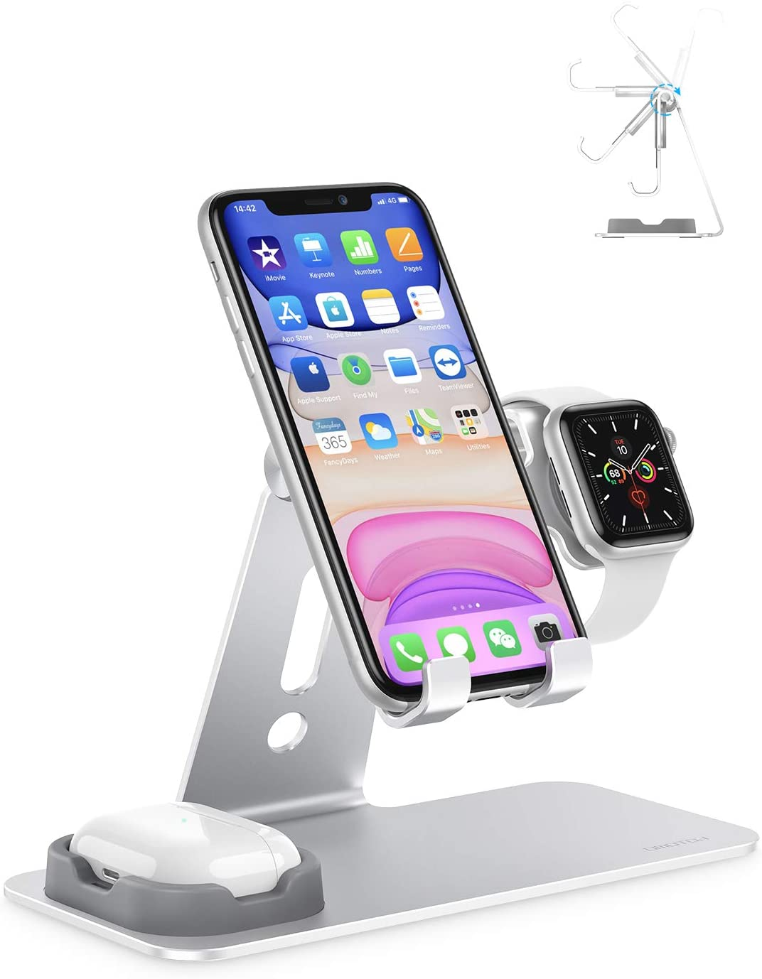 OMOTON Adjustable Apple Watch Stand, Triunity Charging Dock For iWatch, AirPod and iPhone 11/XR/XS/6/7/8 Plus/12 Pro Max, Original Apple Watch Magnetic Charging Cable Required, Silver