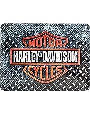 Nostalgic-Art Metalen Retro Bord, Harley-Davidson – Diamond Plate – Geschenkidee voor motorfans, van metaal, Vintage ontwerp, 15 x 20 cm