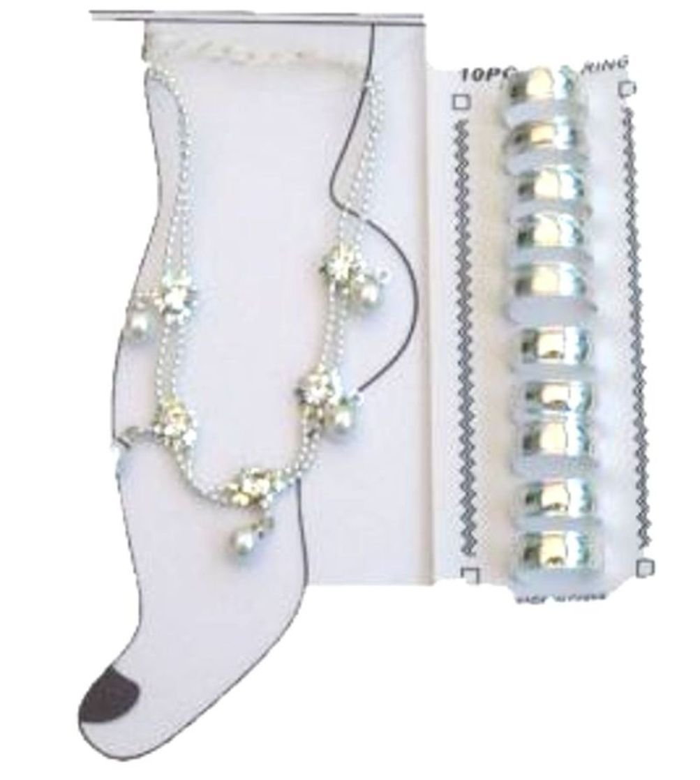 Rhinestone and Crystals on Sterling Silver Anklet and Toe Rings