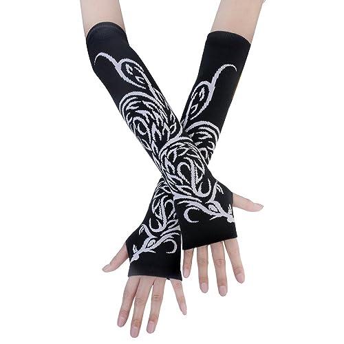 jisen negro Punk Gothic Rock de punto suave brazo calentador guantes sin dedos