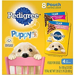 PEDIGREE Choice Cuts Puppy Wet Food Morsels in Sauce Variety Pack – with Chicken and Beef, 3.5 Ounce Pouches (2, 8-Packs)