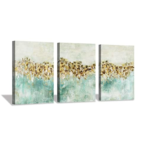 Abstract Teal Canvas Wall Art Golden Harvest Farmhouse Artwork Painting for Office 16 x12 x3pcs