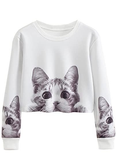 9a85e5f84f82 Amazon.com: Women Long Sleeve Animal Cat Print Pullover Crop Top  Lightweight Sweatshirt: Clothing