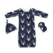 Summer Fall 3pcs Baby Sleepsack Wearable Blanket Deer Blue Gown Sleeping Bag