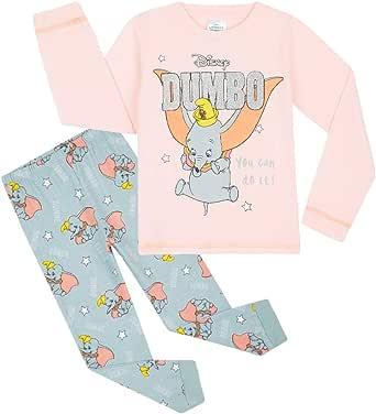 Disney Pijama Niña, Pijama Niña Invierno de Personaje Dumbo, Conjunto 2 Piezas Camiseta Manga Larga y Pantalon, Regalos para Niñas Edad 18 Meses - 12 Años