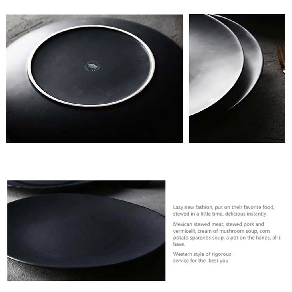 Amazon.com: 11in placa en forma de platos vajilla de cerámica, para ensalada Inicio fruta de la cocina occidental (negro / 815g): Home & Kitchen