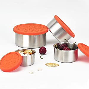 kilofly 4-Piece BPA Free Leak Proof Reusable Round Eco to Go Variety Stainless Steel Food Storage Container with Silicone Lid for Snack Dip Lunch Meal Prep Bento , 3.4 7.4 13.5 23.7-Ounce Orange