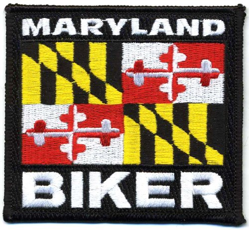 """Embroidered Iron On Patch - Maryland State Biker 3.5"""" Flag"""