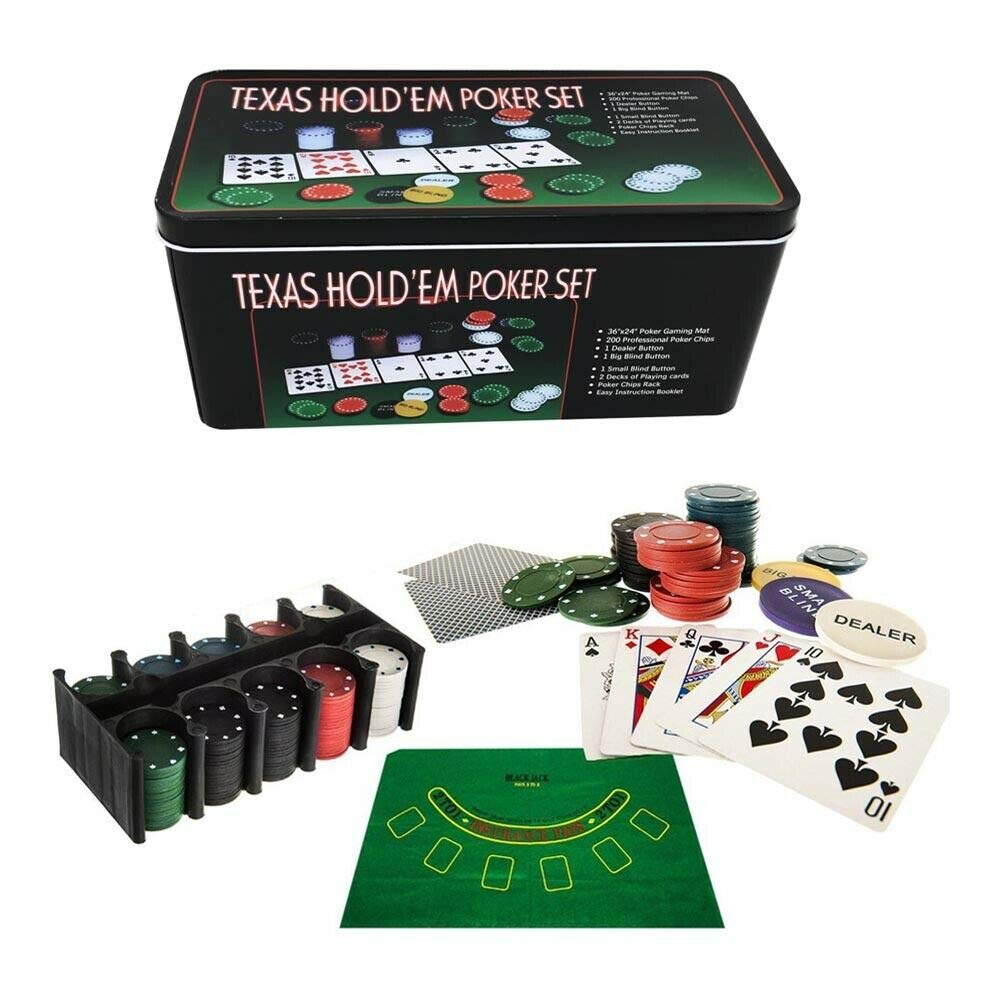 Gloriashoponline Poker Texas 200 FICHES Tappeto 2 MAZZI di Carte Giochi da Tavolo