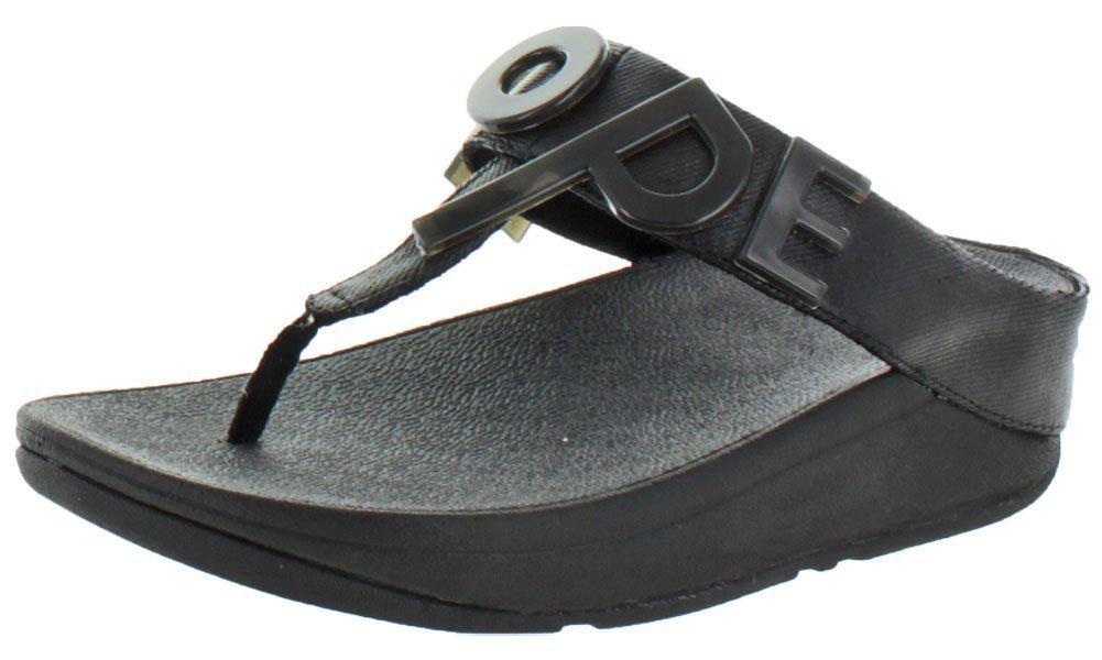 FitFlop Women's Love and Hope T Strap Thong Sandals Black Size 7