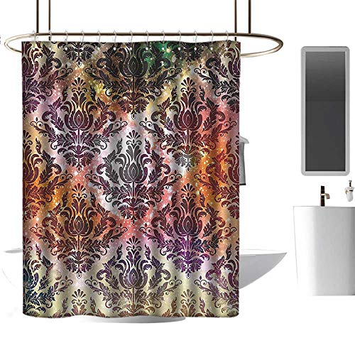 Boston Glass Chandelier - Shower Curtains for Boys Damask Geometric Decor,Abstract Watercolor Chandelier Oriental Victorian Ornamental,Coral Yellow Purple Green,W108 x L72,Shower Curtain for Women