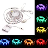 TV Backlight, Auledio Multicolor Waterproof USB RGB LED Strip Lights Kit Bias Lighting with Controller and Battery Box for HD Flat Screen TV, Desktop Monitors - 6.6ft