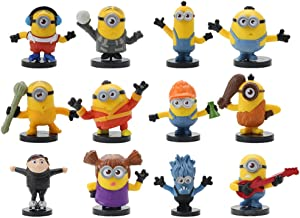 12PCS Minions despicable me cake hat, cake and cupcake hat, Minions despicable me mini action figure, Minions children's birthday shower decoration products
