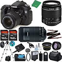 Canon EOS 70D Camera with 18-55mm IS STM + 55-250mm STM + 2pcs 16GB Memory + Case + Memory Reader + Tripod + ZeeTech Starter Set + Wide Angle + Telephoto + Flash + Filter