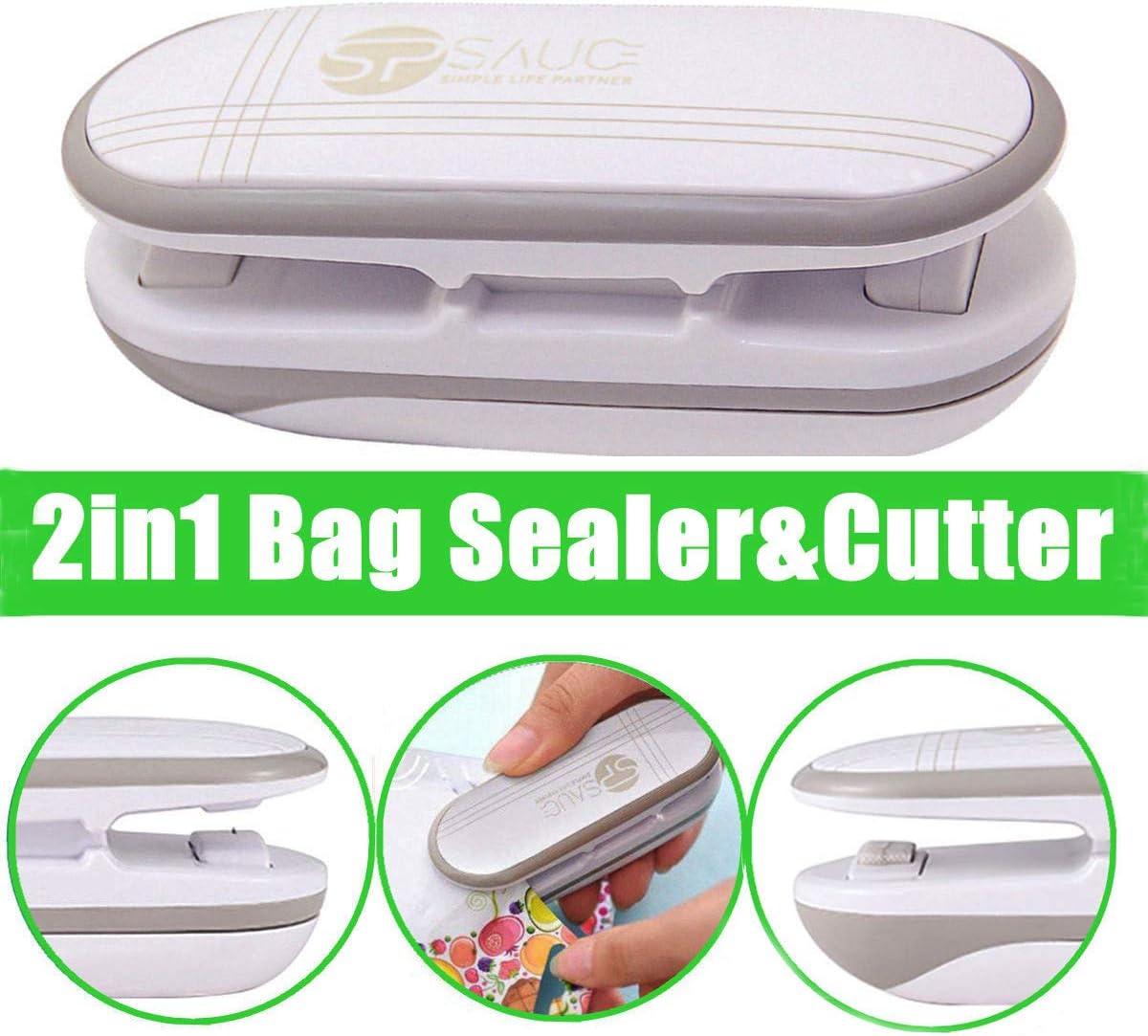 Mini Bag Sealer, Ariskey 2 in 1 Heat Sealer and Cutter Handheld Portable Bag Resealer Sealer for Plastic Bags Food Storage Snack Fresh Bag Sealer or Chip Saver (Battery Not Included)-White