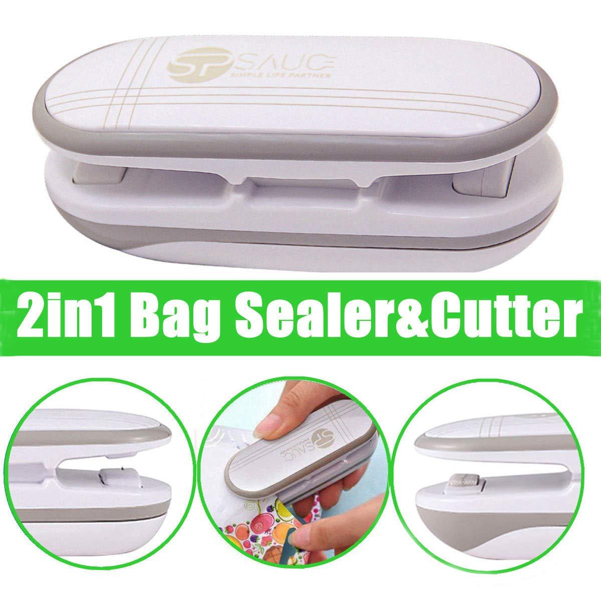 Mini Bag Sealer, Ariskey 2 in 1 Heat Sealer and Cutter Handheld Portable Bag Resealer Sealer for Plastic Bags Food Storage Snack Fresh Bag Sealer or Chip Saver (Battery Not Included)-White by ARISKEY
