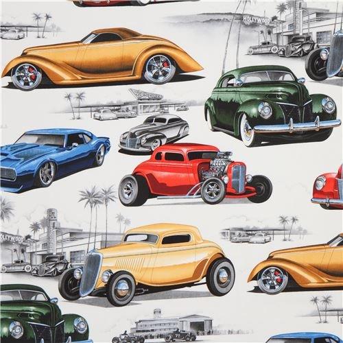 - Light beige Alexander Henry fabric classic car Chopped Channeled (per 0.5 yard unit)