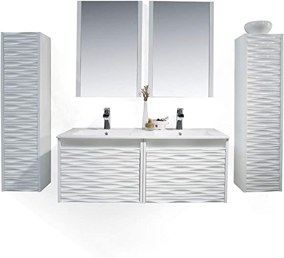 Blossom Paris 48 Inches, Double Bathroom Vanity, Wall Hung, 12 Inches Side Cabinet, Plywood, Ceramic Sink with Medicine Cabinet Glossy White 008 48 01 SC