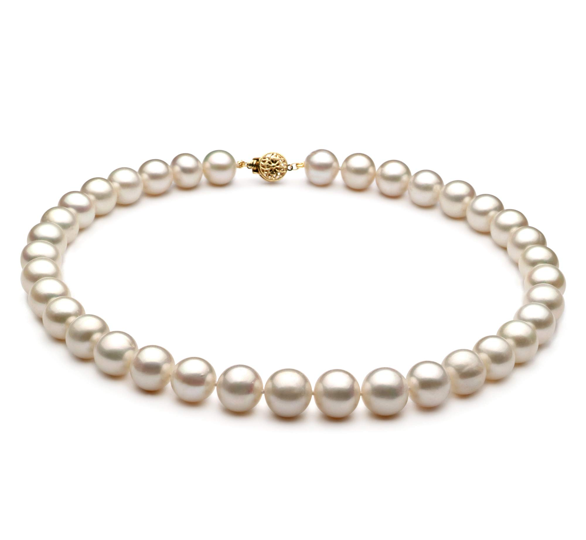 White 10-11mm AA Quality Freshwater Cultured Pearl Necklace for Women-16 in Chocker Length